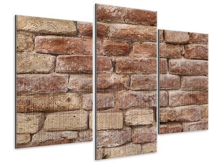 Metallic-Bild 3-teilig modern Loft-Mauer