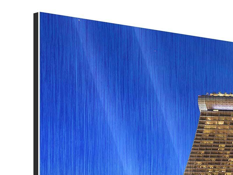 Metallic-Bild 3-teilig modern Wolkenkratzer Singapur