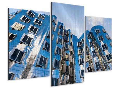 Metallic-Bild 3-teilig modern Neuer Zollhof
