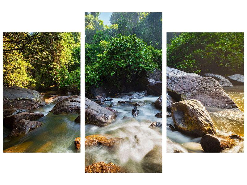 Metallic-Bild 3-teilig modern Das Gewässer