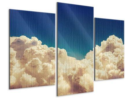 Metallic-Bild 3-teilig modern Himmelswolken