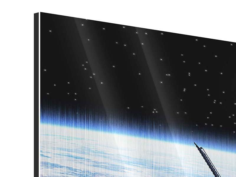 Metallic-Bild 3-teilig modern Satellit