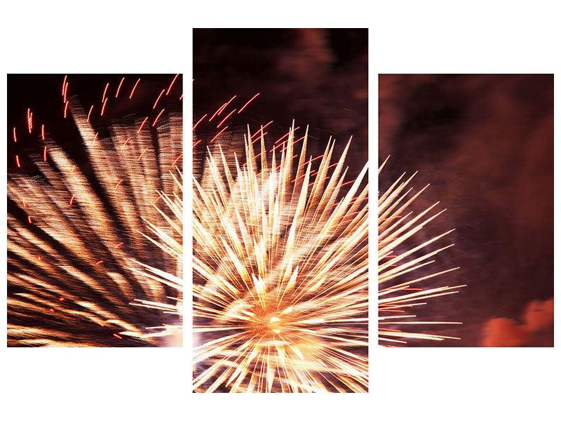 Metallic-Bild 3-teilig modern Close Up Feuerwerk
