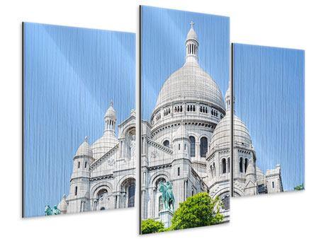 Metallic-Bild 3-teilig modern Paris- Montmartre
