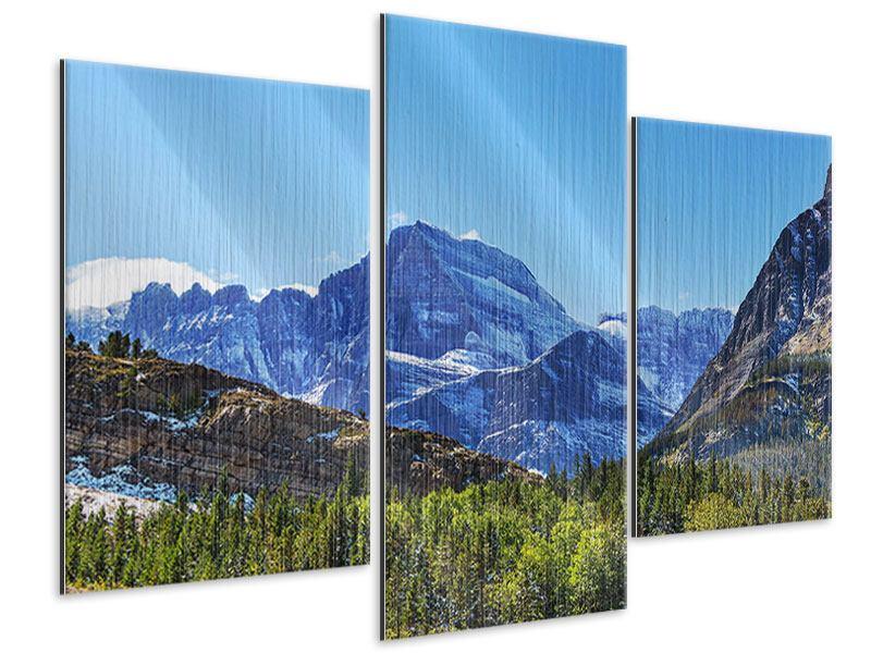 Metallic-Bild 3-teilig modern Dem Gipfel entgegen