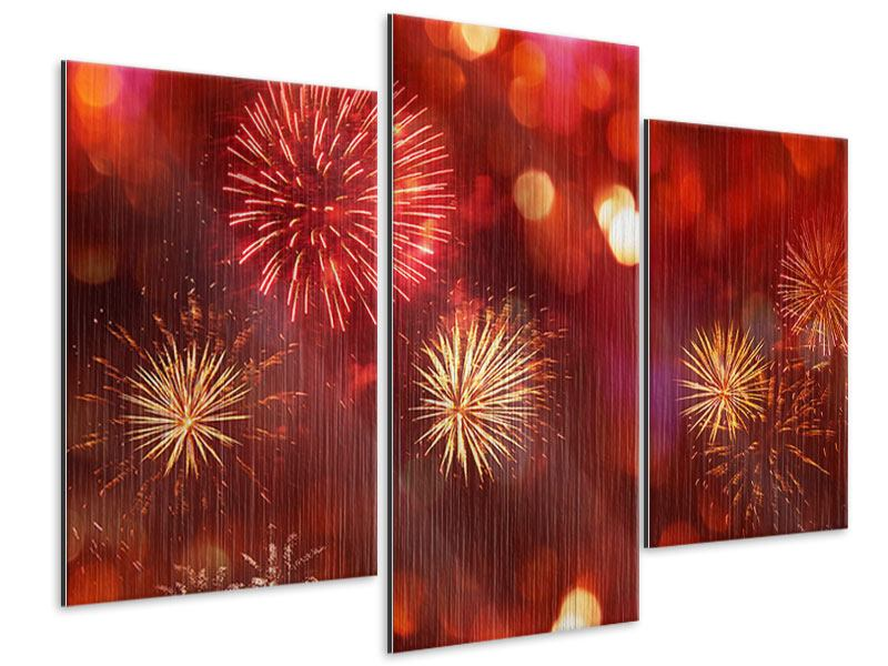 Metallic-Bild 3-teilig modern Buntes Feuerwerk