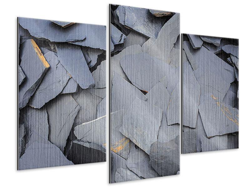 Metallic-Bild 3-teilig modern Schieferplatten