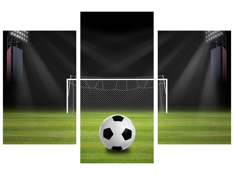 Metallic-Bild 3-teilig modern Fussball-Tor