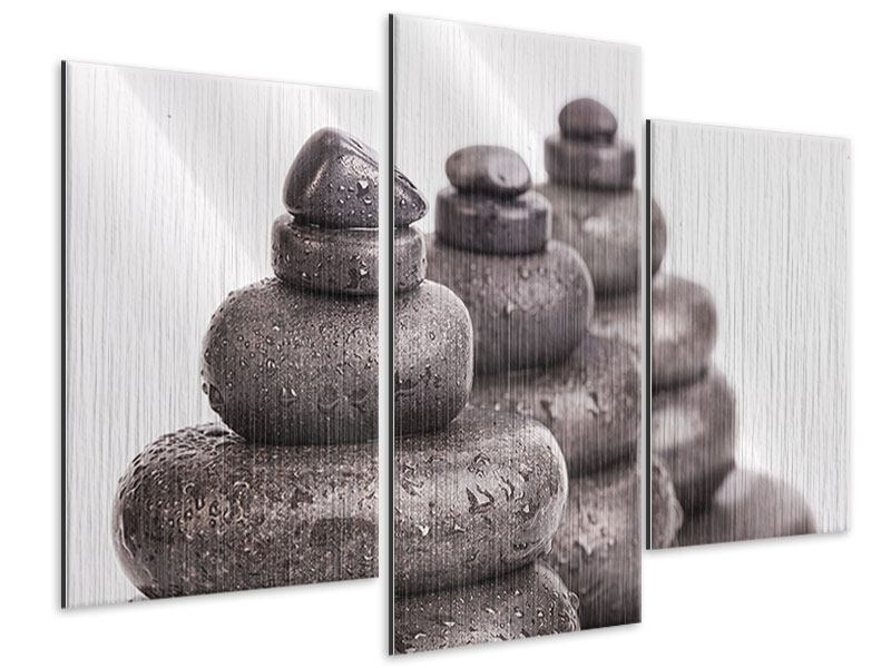 Metallic-Bild 3-teilig modern Die Kraft der Steine