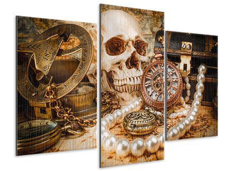 Metallic-Bild 3-teilig modern Schatzsuche