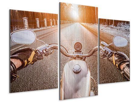 Metallic-Bild 3-teilig modern Auf dem Motorrad