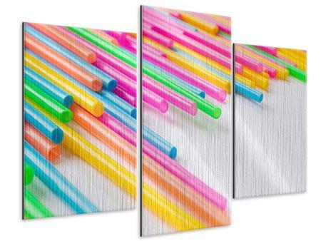 Metallic-Bild 3-teilig modern Pop Art