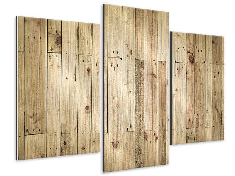 Metallic-Bild 3-teilig modern Holzpaneelen