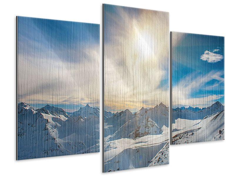 Metallic-Bild 3-teilig modern Über den verschneiten Gipfeln