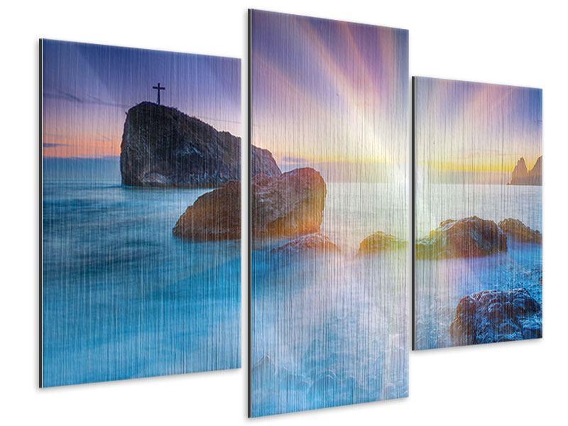 Metallic-Bild 3-teilig modern Mystisches Meer