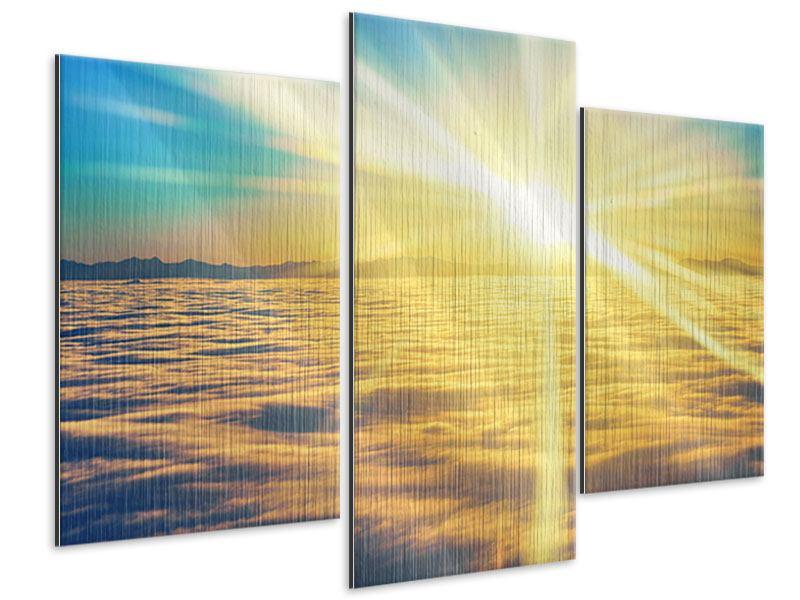 Metallic-Bild 3-teilig modern Sonnenuntergang über den Wolken