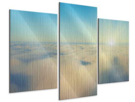 Metallic-Bild 3-teilig modern Dämmerung über den Wolken