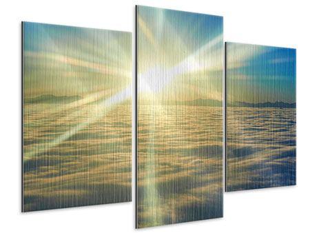 Metallic-Bild 3-teilig modern Sonnenaufgang über den Wolken