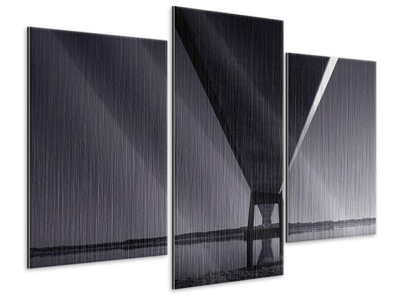 Metallic-Bild 3-teilig modern Die Brücke über tiefes Wasser