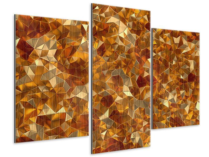 Metallic-Bild 3-teilig modern 3D-Bernsteine