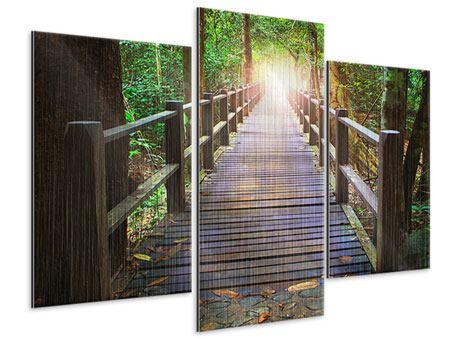 Metallic-Bild 3-teilig modern Die Brücke im Wald