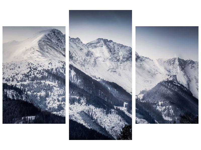 Metallic-Bild 3-teilig modern Die Berge der Schweiz