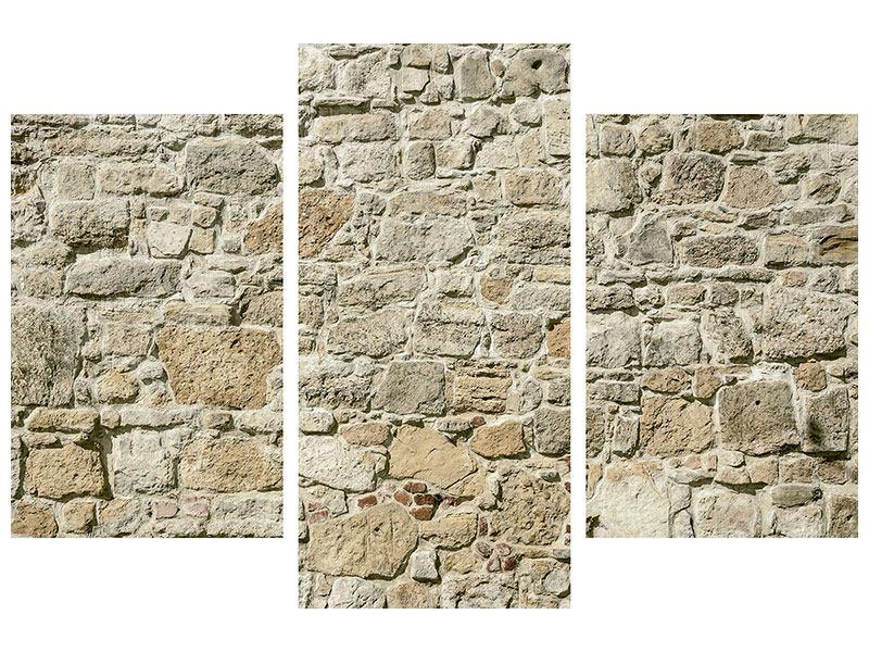Metallic-Bild 3-teilig modern Naturmauer