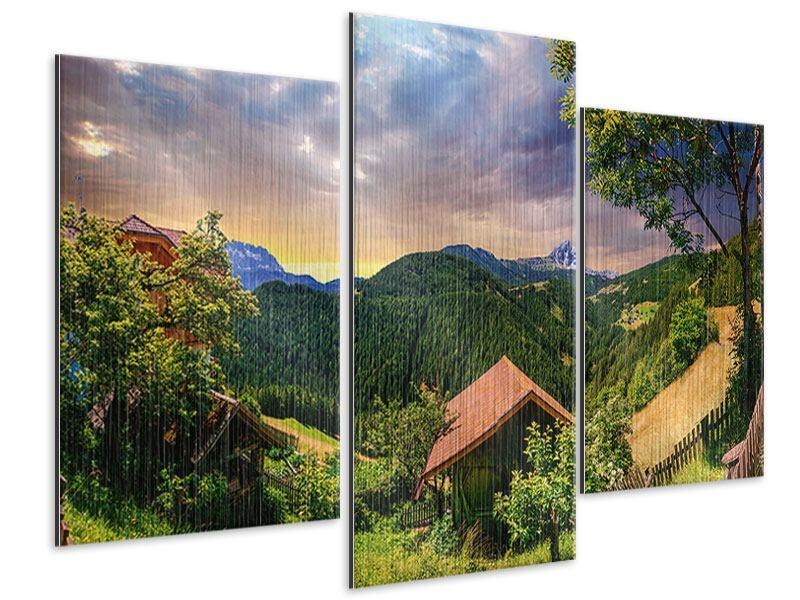 Metallic-Bild 3-teilig modern Schweizer Berge im Sommer