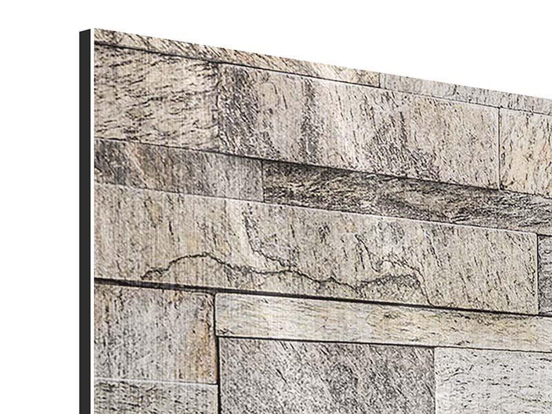 Metallic-Bild 3-teilig modern Elegante Steinmauer