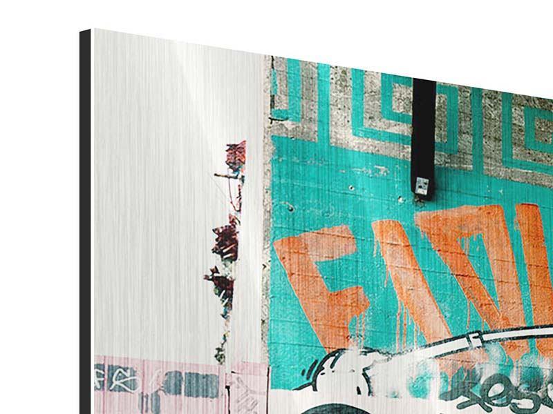 Metallic-Bild 3-teilig modern Graffiti im Hinterhof