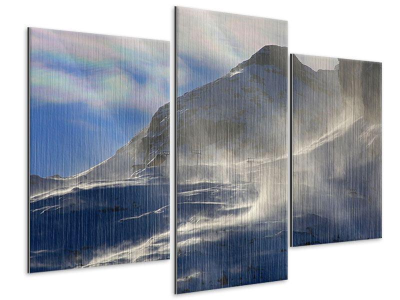 Metallic-Bild 3-teilig modern Mit Schneeverwehungen den Berg in Szene gesetzt