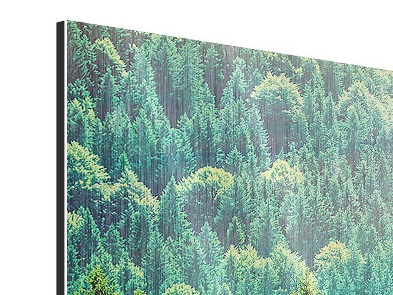 Metallic-Bild 3-teilig modern Der Waldhügel