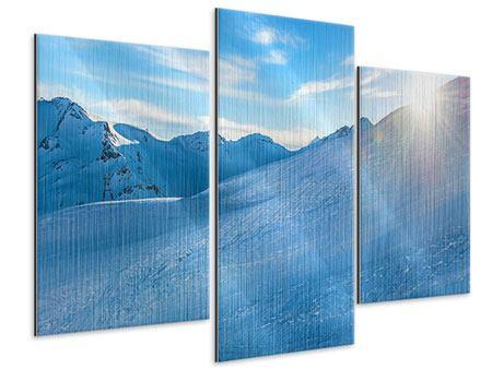 Metallic-Bild 3-teilig modern Sonnenaufgang in den Bergen