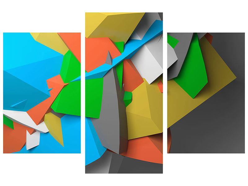 Metallic-Bild 3-teilig modern 3D-Geometrische Figuren