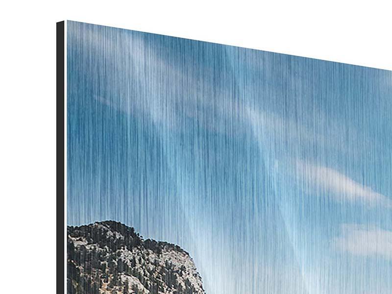 Metallic-Bild 3-teilig modern Der idyllische Bergsee