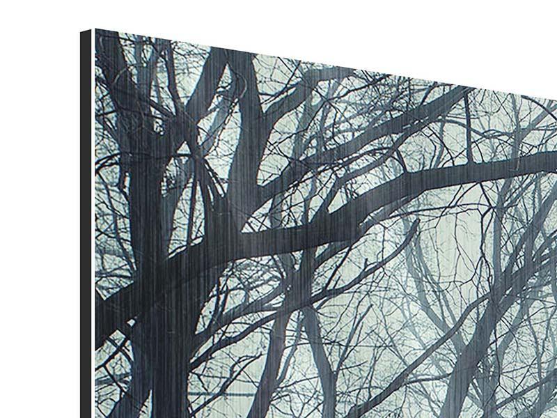 Metallic-Bild 3-teilig modern Nebelwald