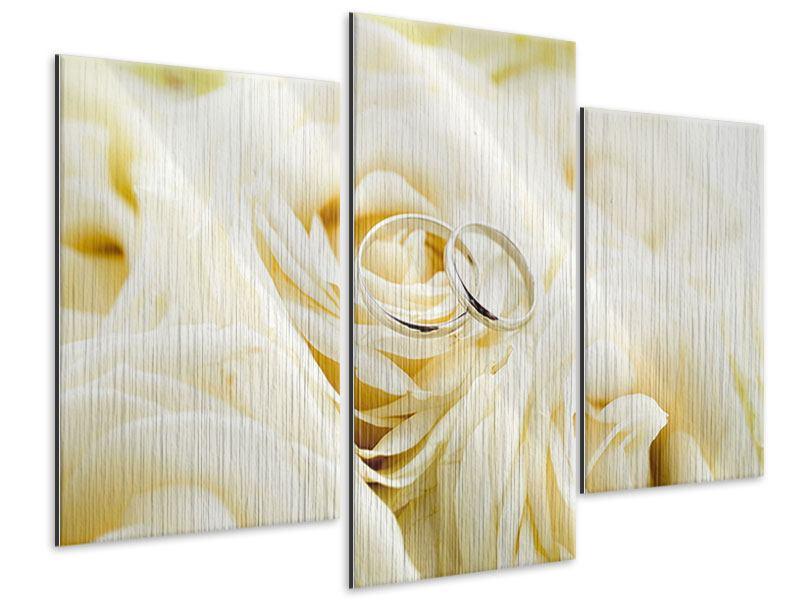 Metallic-Bild 3-teilig modern Trauringe auf Rosen gebettet