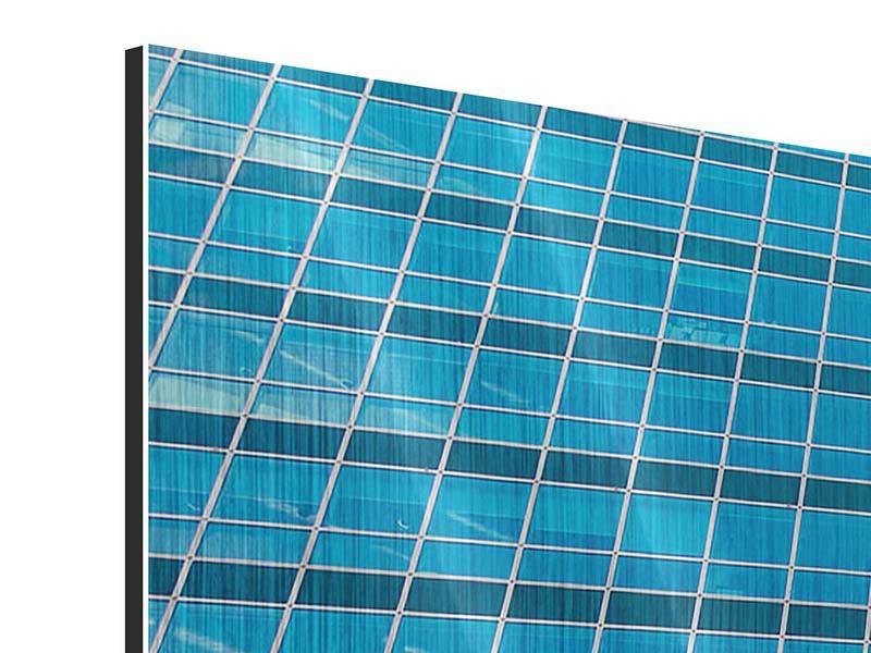 Metallic-Bild 3-teilig modern Wolkenkratzer-Spiegel