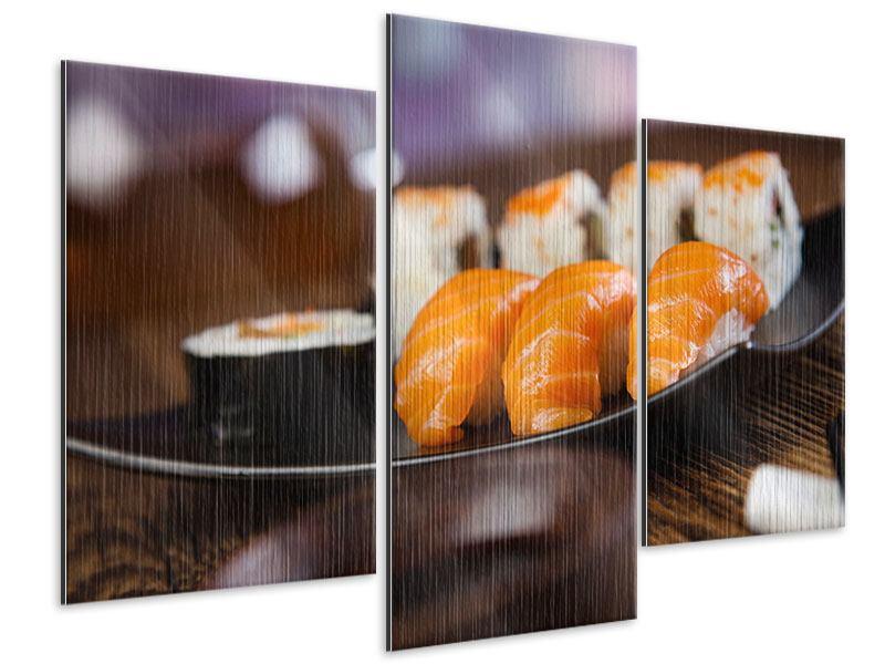 Metallic-Bild 3-teilig modern Sushi-Gericht