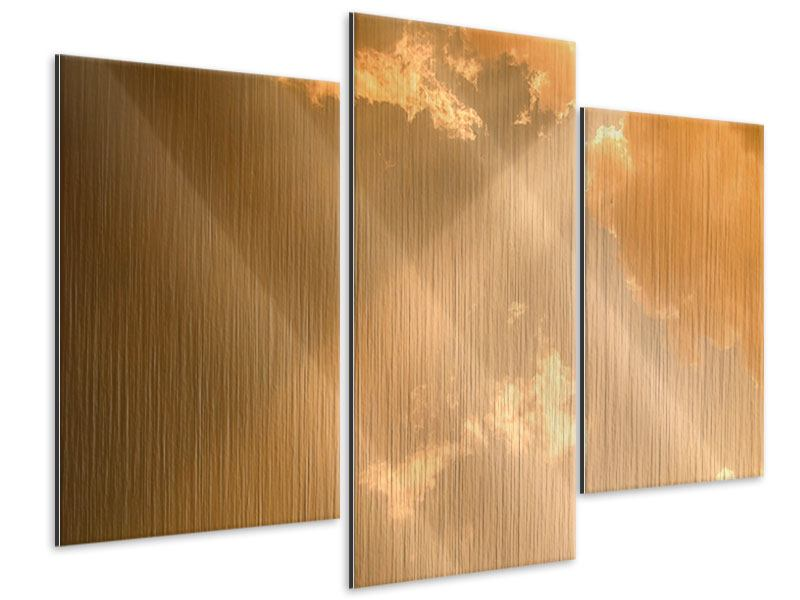 Metallic-Bild 3-teilig modern Abendhimmel