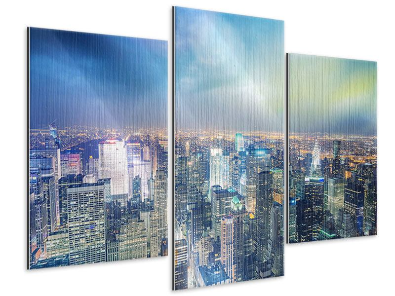 Metallic-Bild 3-teilig modern Skyline NY bei Sonnenuntergang