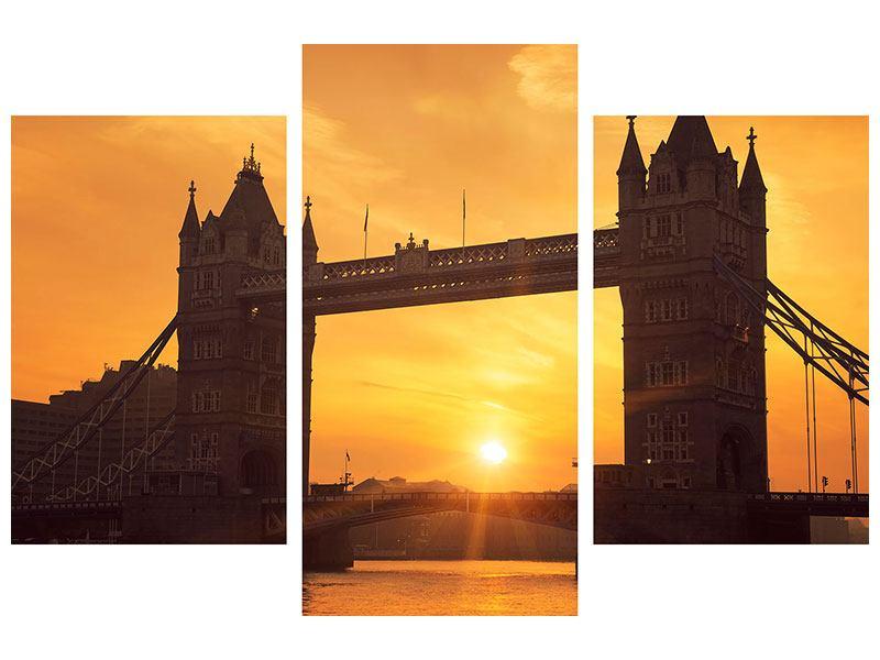 Metallic-Bild 3-teilig modern Sonnenuntergang bei der Tower-Bridge
