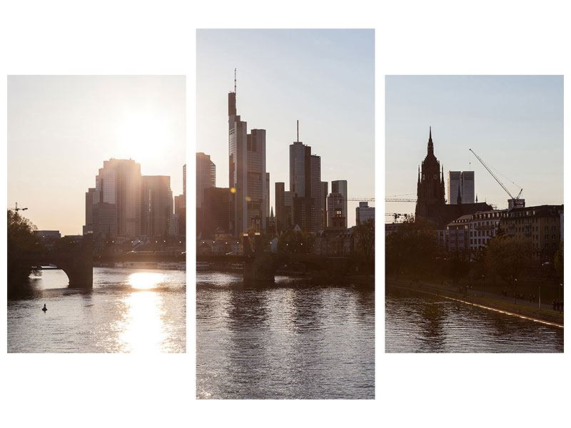 Metallic-Bild 3-teilig modern Skyline Sonnenaufgang bei Frankfurt am Main