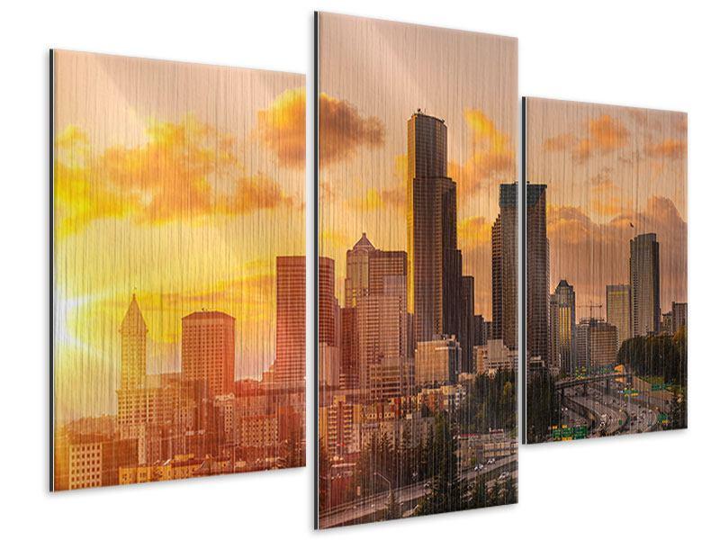Metallic-Bild 3-teilig modern Skyline Washington