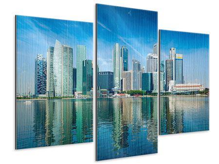 Metallic-Bild 3-teilig modern Skyline Mexiko-Stadt