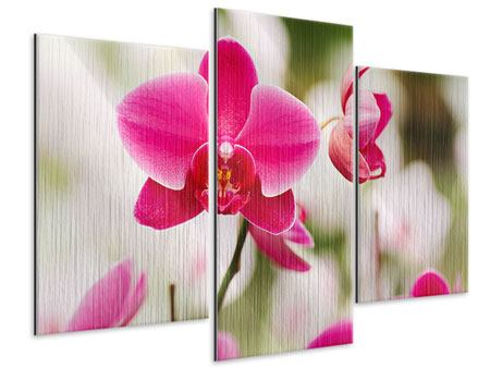 Metallic-Bild 3-teilig modern Perspektivische Orchideen
