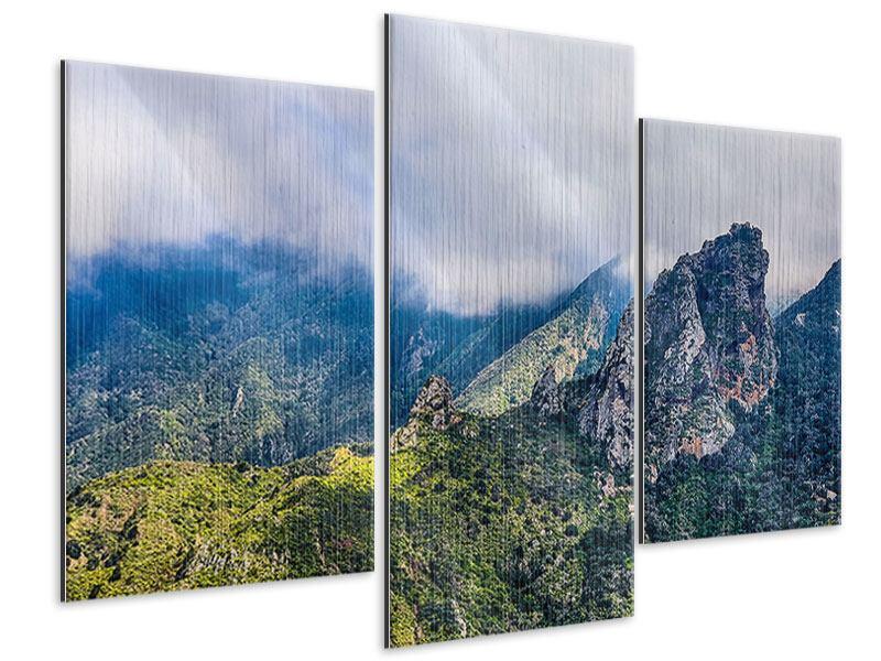 Metallic-Bild 3-teilig modern Der stille Berg