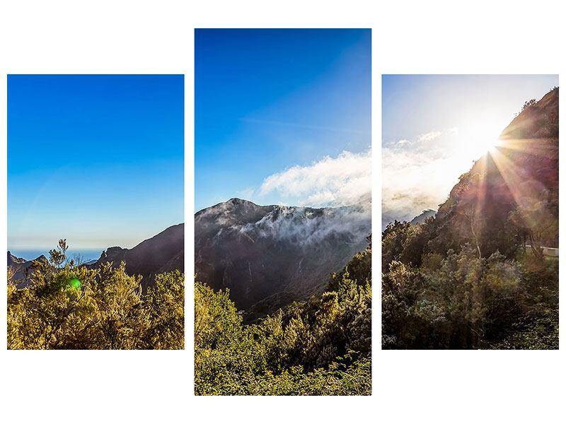 Metallic-Bild 3-teilig modern Berge am Meer