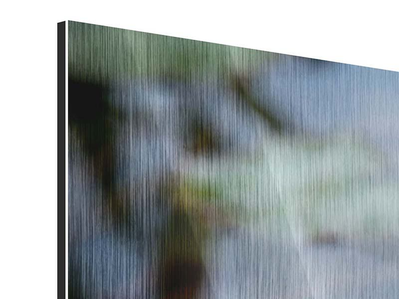 Metallic-Bild 3-teilig modern Das Seerosenduo