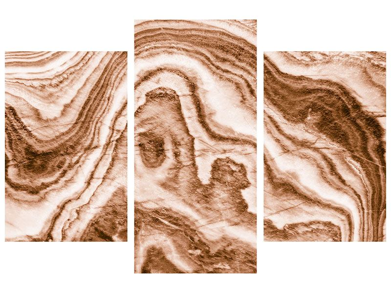 Metallic-Bild 3-teilig modern Marmor in Sepia